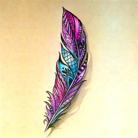 colorful feather tattoo great colorful feather design