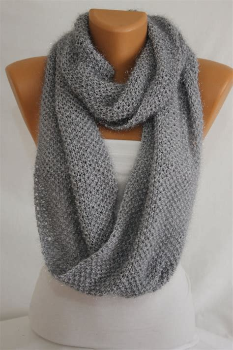 how to knit a scarf left handed knit gray sparkly infinity scarf fall scarf winter scarf