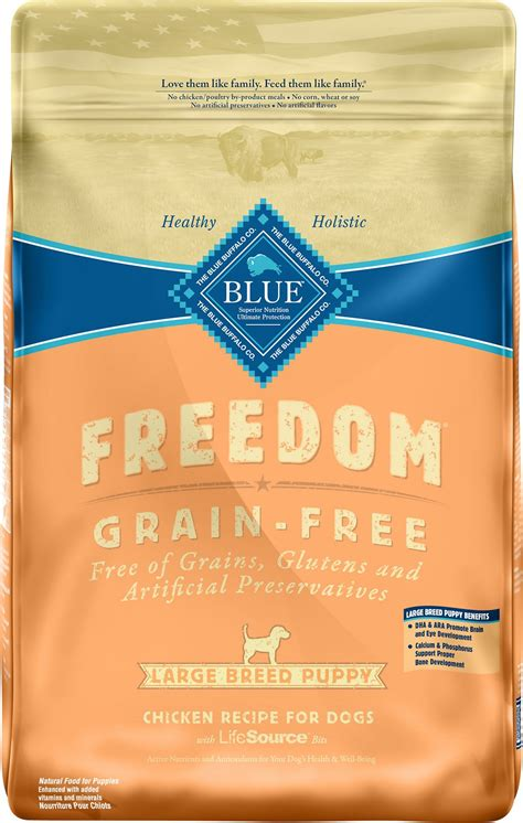 blue buffalo large breed puppy blue buffalo freedom large breed puppy chicken recipe grain free food 24 lb