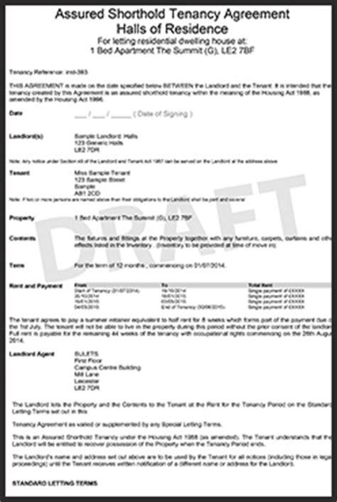 student tenancy agreement template our tenancy agreement sulets
