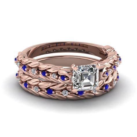 Black Sapphire 11 66 Ct leaf design asscher cut wedding ring set with