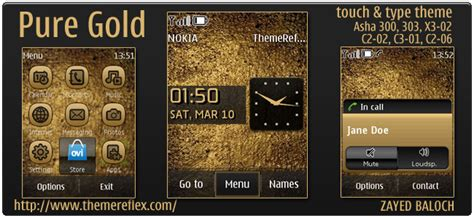 themes gold nokia pure gold theme for nokia asha 303 300 x3 02 c2 06
