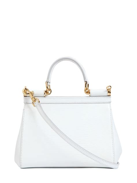 Dolce And Gabbana White Open Leather Bag by Dolce Gabbana Small Sicily Iguana Embossed Leather Bag