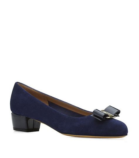 ferragamo shoes ferragamo vara 1 suede shoe in blue lyst