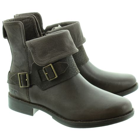brown lodge ugg cybele buckle ankle boots in lodge brown in lodge