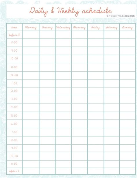 daily weekly schedule template she has even more cute