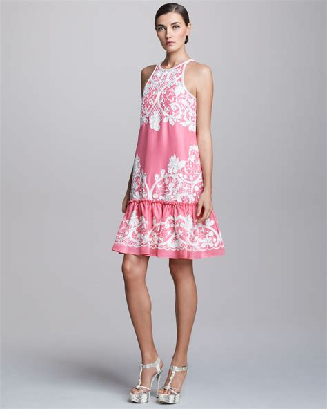 Embroidered Cocktail Dress lyst naeem khan embroidered dropwaist cocktail dress in pink