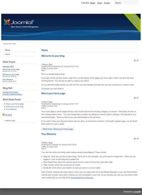 blog layout in joomla 2 5 joomla 2 5 sle data joomla blog news views reviews