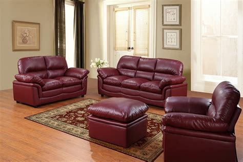 Living Room With Burgundy Sofa by Burgundy Leather Sofa Set Furniture Maroon Sofa Living