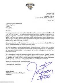 Request Letter Uk Jacksonville Jaguars Mascot Jaxson De Ville Writes To David Cameron Asking For Everbank