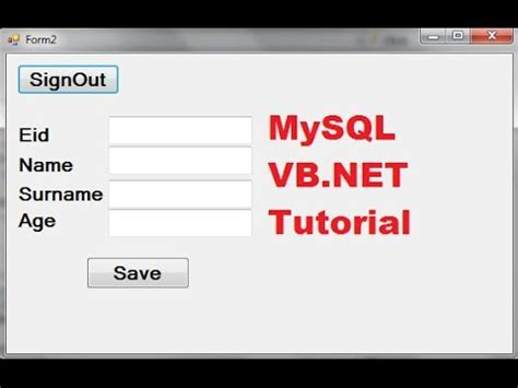 tutorial vb net mysql mysql vb net tutorial 5 how to open a second form using