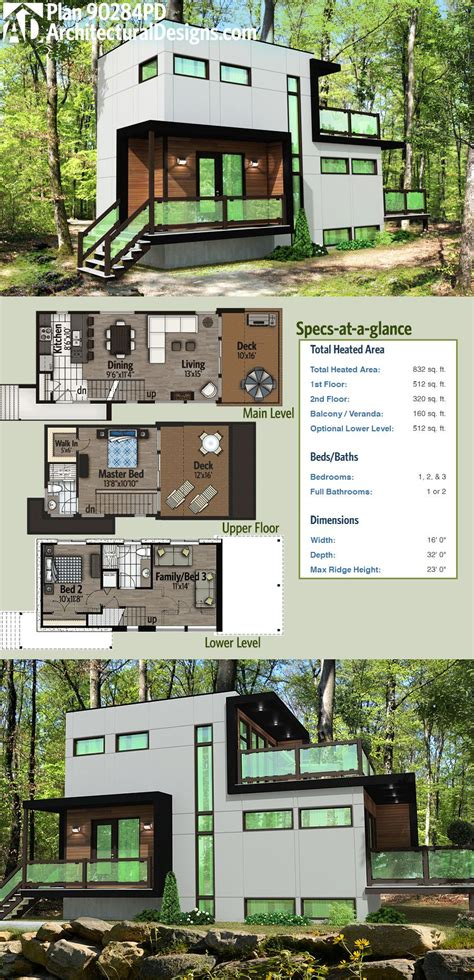 yes you can have a 3 bedroom tiny house 768 sq ft one for plan 90284pd modern home plan with optional lower level