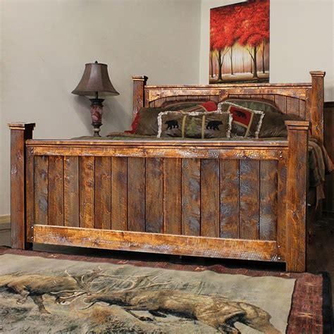 iron and wood bedroom furniture barnwood bedroom rustic rough cut weathered alder wood bed