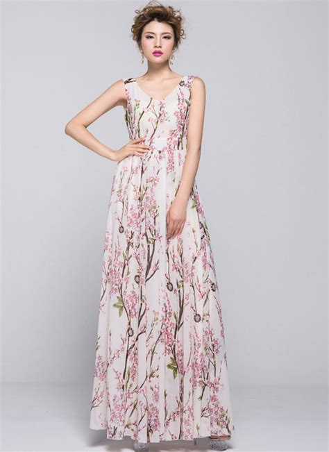Gamis Cherry Dress Maxi by Cherry Blossom Maxi Dress With V Back Rm334
