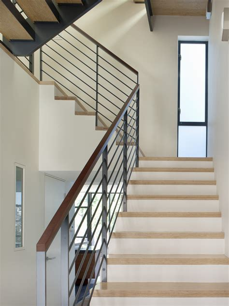 metal banister rail handrails staircase modern with slatted wood marble stair