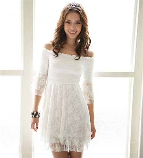 The Shoulder Lace Dress White shoulder half sleeve white lace dress