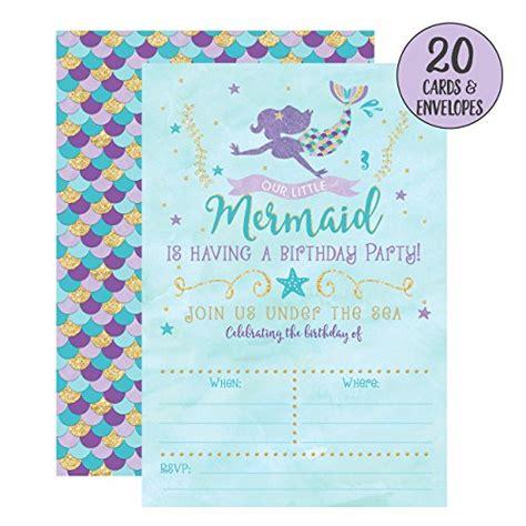 Mermaid Birthday Invitations 20 Fill In Mermaid Party Invitations With Envelopes Wantitall Mermaid Birthday Invitation Templates