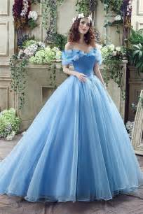 Fairy tale ball gown off the shoulder blue organza corset wedding