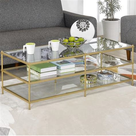 gold and glass table simple 3 layer gold glass coffee table