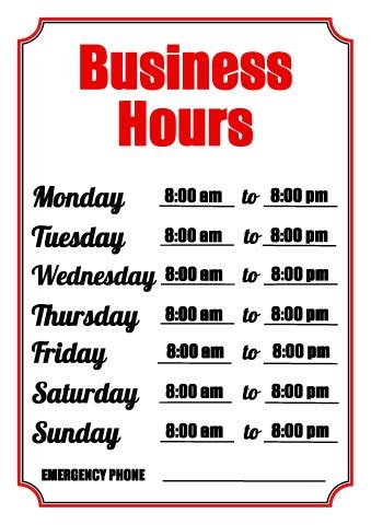 business hours sign template search results for hours sign template