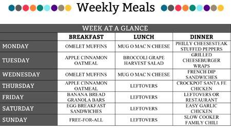 weekly meal plan – round 1 – organizedchaosonline