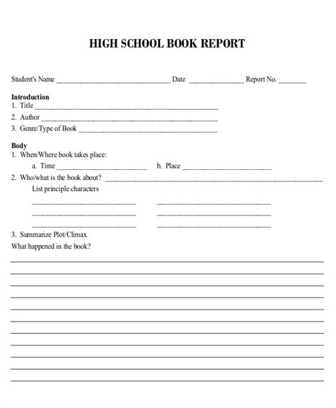 high school book report exle 6 book report exles sles