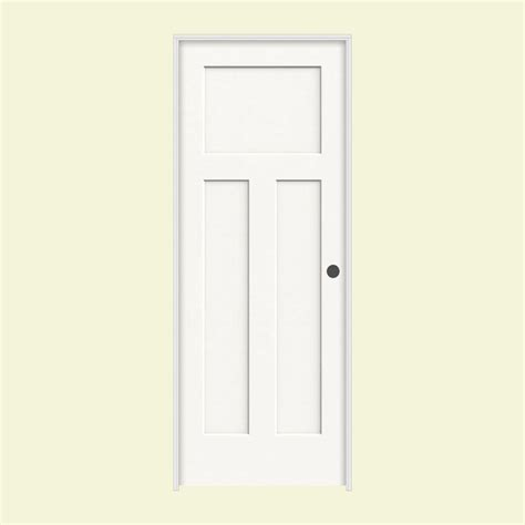 Jeld Wen Prehung Interior Doors Jeld Wen 30 In X 80 In Molded Smooth 3 Panel Craftsman Brilliant White Solid Composite