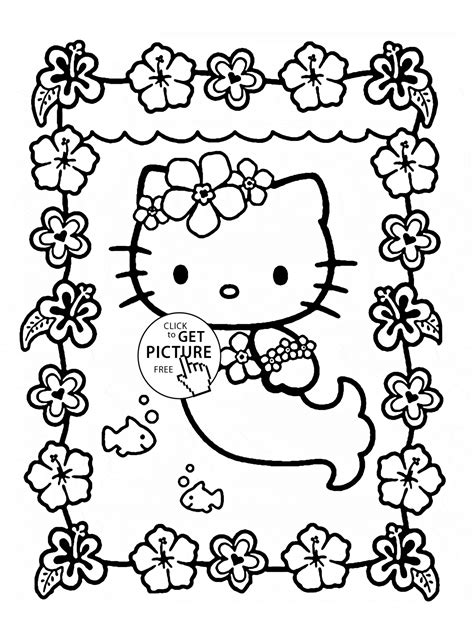 Hello Kitty is mermaid coloring page for kids, for girls