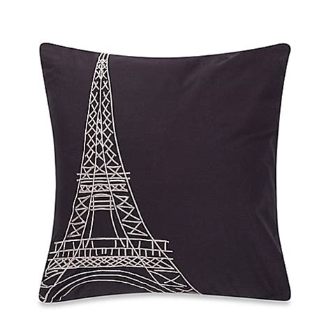 bed bath and beyond decorative throw pillows anthology paris eiffel tower square throw pillow bed