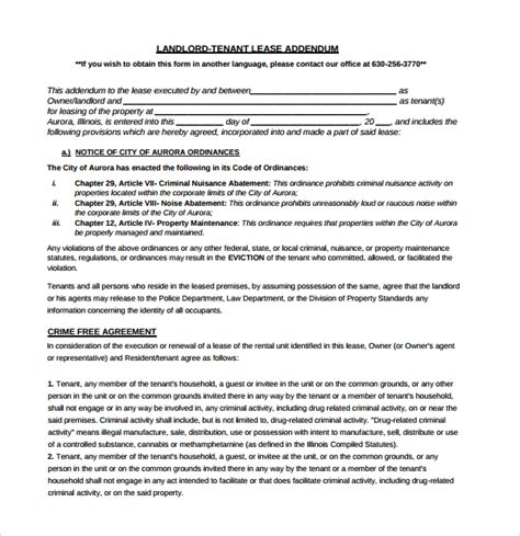 sle lease addendum form 14 download free documents