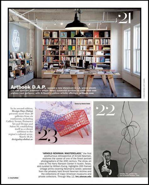 magazine layout photo caption artbook d a p los angeles showroom featured in cultured