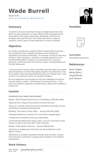 sle of resume for internship marketing intern resume sles visualcv resume sles