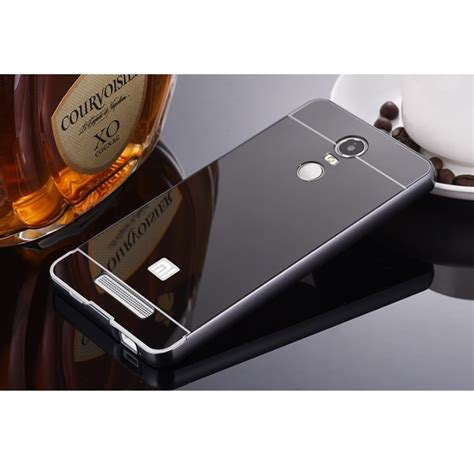 Bumper Mirror Xiaomi Redmi Note 2 Prime aluminium bumper with mirror back cover for xiaomi redmi note 3 note 3 pro kenzo black