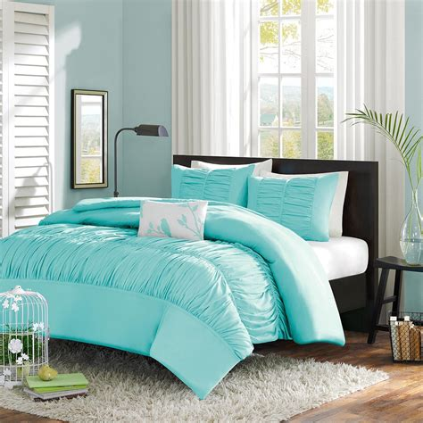Teal Bedroom Set by Xl Mint Blue Light Teal Ruched Fabric