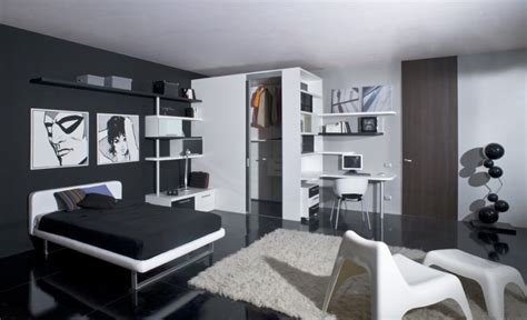 funky  pleasant black  white themed teen bedroom decoration  wardrobe open view