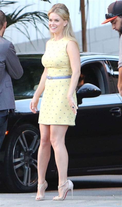 alice eve  yellow mini dress  gotceleb
