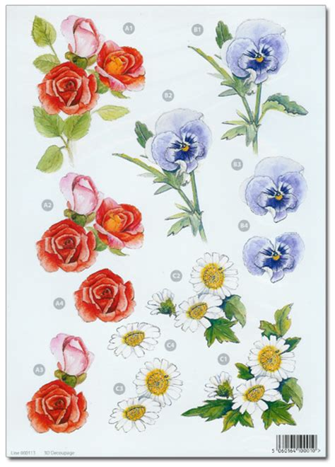 Decoupage Flowers - die cut 3d decoupage a4 sheet floral designs 113 163 1