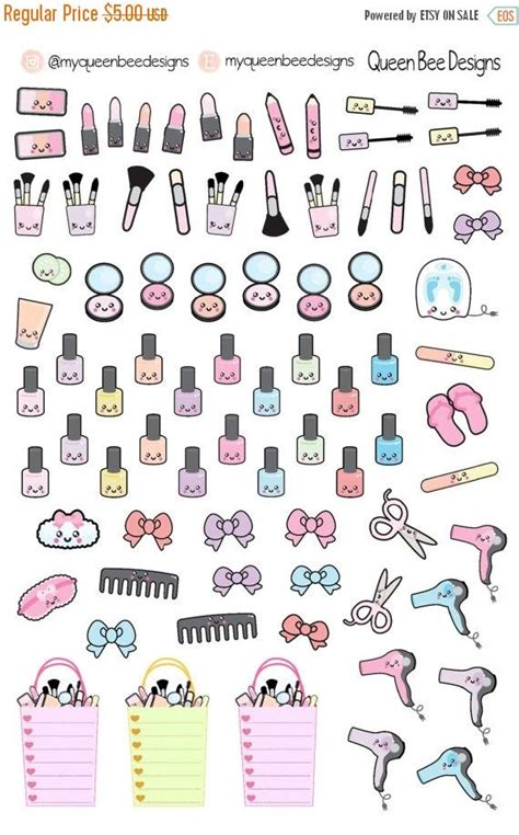printable kawaii planner stickers huge sale kawaii beauty sler planner by