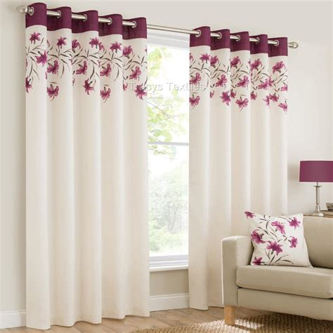 purple and orange curtains lily ring top fully lined floral eyelet curtains red blk