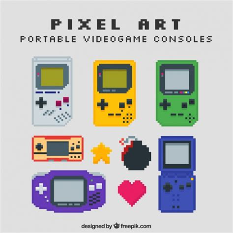 free console pixel style consoles vector free