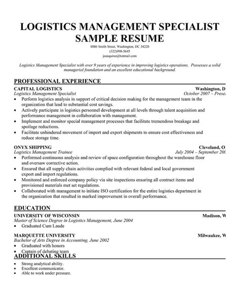 Sle Resume For Logistics Specialist Resume Logistics Sales Logistics Lewesmr