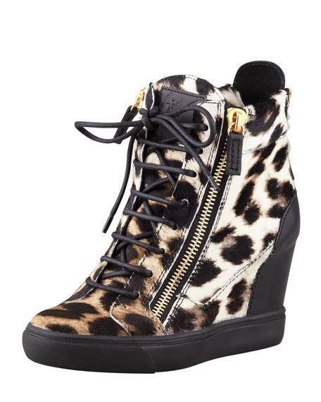 leopard sneaker wedges giuseppe zanotti leopard print calf hair wedge sneaker