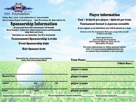 golf tournament registration template registration form for the quot inaugural quot golf