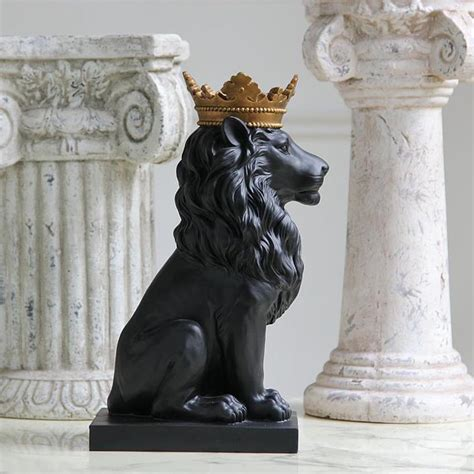 statues home decor resin black lion statue with golden crown