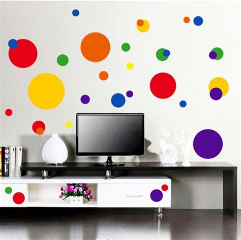 colorful wall stickers circles polka dots wall stickers 31 big decals colorful room decor blue pp7158 in wall