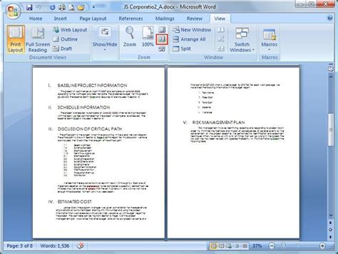 microsoft word page layout side by side microsoft word view tab