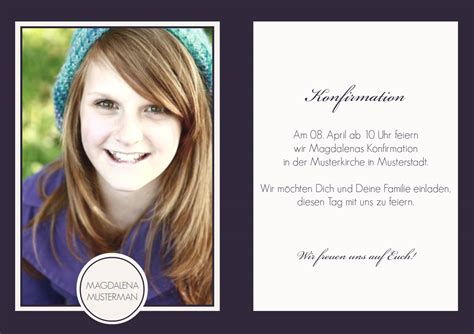 Muster Einladung Konfirmation Einladung Konfirmation Lilia 1