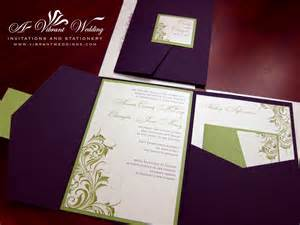 Eggplant purple amp green wedding invitation with victorian scroll
