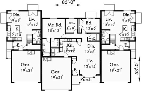Triplex Floor Plans triplex house plans triplex house plans with garage d 437