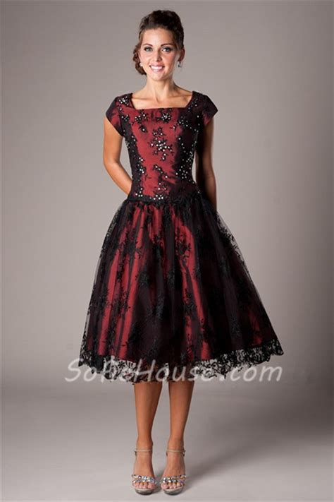 formal christmas tea a line square neck tea length burgundy satin black lace modest prom dress